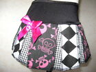 Baby Girls Pink,black,white Harlequin check,Funky Skulls  cheerleader goth Skirt