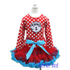 Girls Polka Dots Red Blue Pettiskirt Thing 1 Long Sleeves Top Party Dress 1-7Y