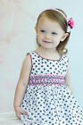 New Beautiful Girls Bubbly Black and White Bows Dress With Smocking 17595