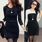 Sexy Womens Black/White Lace Long Sleeve Tunic Slim Dress