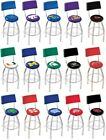 Choose Your NCAA K-O Team L8C4 Chrome Single-Ring Swivel Bar Stool w / Seat Back