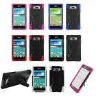 For LG Optimus Showtime Phone Case Silicone Corner Hybrid Hard Cover Stand