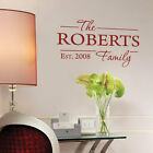 Personalized Family Name Art  Wall Quote Stickers, Wall Decals, Words Lettering