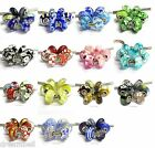 6pc Sterling Silver Assorted Color Blue Red Pink Foil Glass European Bead Charm