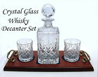 NEW HAND CUT PAIR WHISKY GLASS DECANTER Special Birthday Gift FREE Label £40 OFF