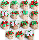 XMAS Baby Girls Red Green White Polka Dots Hair Bow Crochet Headband