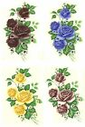 Внешний вид - Rose Blue Burgundy Pink Yellow Flower Select-A-Size Waterslide Ceramic Decals Bx