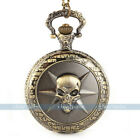 Antique Vintage Bronze Tone Men's Pocket Chain Quartz Pendant Watch Necklace S2