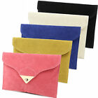Women Faux Suede Leather Envelope Messenger Evening Clutch Purse Bag