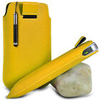 YELLOW POUCH PULL TAB CASE COVER W/ RETRACTABLE STYLUS PEN FOR VARIOUS PHONES