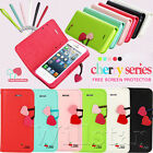 HELLO DEERE® CHERRY CUTE FLIP LEATHER WALLET STAND CASE COVER FOR IPHONE  5G