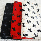 Japanese 100% Cotton Craft Fabric - Cute Cat Paw Prints - Black Red Ivory - FQ