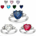 Wedding Jewelry Heart Cut Blue White Gold Plated Lady Ring 6 7 8