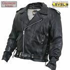Mens Black Buffalo Leather Motorcycle Biker Jacket S,4XL,5XL Armored $249