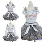 Xmas Gray Pettiskirt Silver Santa's Princess Rhinestone White Shirt Party Dress