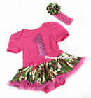 Hot Pink Sparkle 1 ST Birthday Bodysuit Jumpsuit Camo Baby Dress Skirt NB-12M