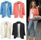 Fashion Womens Lapel Slim three quarter sleeve No Button Blazers Suits