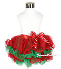 XMAS Baby Girl Hot Red Kelly Green Petal Pettiskirt with Red White Dot Bow NB-8Y