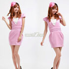 S0BZ Retro elegant Pink Petals V-Neck Bubble Short-Sleeve Women Party Dress new