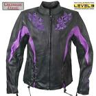 Womens Black & Purple Embroidered Leather Motorcycle Biker Jacket Zip out lining