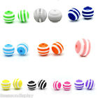"100PCs Resin Spacer Beads Round Striped 10mm(3/8"") M1257"