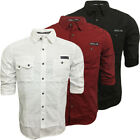 Mens Shirts Dissident Long / Short Sleeve Shirt Smart Casual Plain S M L XL