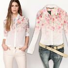 2013 Hot Fashion Lady Shirt Blouse See-through Flower Print Long Sleeve Top Z