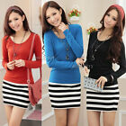 Womens Casual Slim Bodycon Long Sleeve Striped  Stripes Mini Dress Skirt