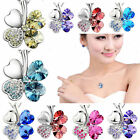 1pc New lucky clover Austria Crystal Rhinestone Necklace Pendant silver chain