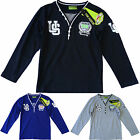 Boys 6 Button V Neck College Long Sleeve T-Shirt Top 3-13 yrs NEW