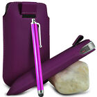 VARIOUS PHONES DARK PURPLE PULL TAB LEATHER POUCH CASE COVER W/ BIG STYLUS PEN