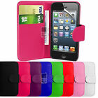 FLIP WALLET LEATHER CASE COVER FITS APPLE IPHONE 5S FREE SCREEN PROTECTOR