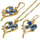 Xmas Gifts Costume Jewellery Jewelry Set Pear Cut Pendant Necklace Earrings