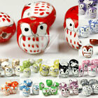 10pcs Chinese Porcelain Animal or Bird Beads Mixed Snoozy Owl Beads Loose Charm