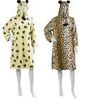 Ladies Slenderella Dressing Gown Womens Fleece Hooded Pullover Animal Print Robe