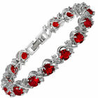 Women Party Rhinestone Round Cut Tennis 18K White Gold Plated Fashion Bracelet