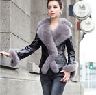 Real Sheep Leather Jacket Women Slim Leather Coat with Silver Fox Collar Garment