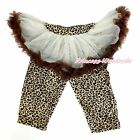 Beige Brown Tutu Leopard Legging Pettiskirt Dress Long Pant Tight 4 Girl 1-7Y