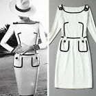 Vintage Pinup Womens Long Sleeves Slim Sheath Party Pencil Bodycon Stretch Dress