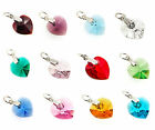 Sterling Silver Birthstone Dangle Heart Charm Made with Swarovski Elements