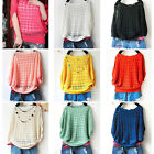 Womens Fashion Hollow Knit Bat Short Sleeve Thin Sweater Pullover Loose Shirt J