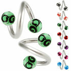 Spiral belly ring navel button piercing surgical steel twist bar jewelry 2p 9DBZ