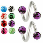 Spiral lip ring eyebrow barbell tragus ear bar twist piercing steel 2pcs 9GDI
