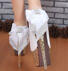 GLITTER STUDDED RHINESTONE BOWKNOT LACE PLATFORM WEDDING SHOES HIGH HEELS