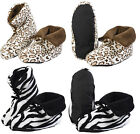 Slenderella Womens Fluffy Slippers Girls Warm Fleece Slipper Boots Animal Print