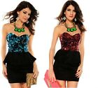 Sexy Evening Party Clubbing Sequin top Peplum mini Dress Sizes UK 6,8,10