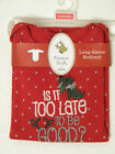 NEW Carters Is it Too Late to Be Good? Christmas Long Sleeve Bodysuit  Choose Sz