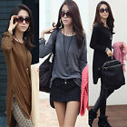 New Women Tops Hem Zipper Casual Mid-length T-shirt Long Sleeve Blouses 3 Colors