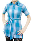 Ladies Indian Kurta Tops-Short Sleeve Blue/White Tartan Style Kurti-7355