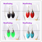 Fashion14x28mm gemstone beads tibetan silver dangle earrings 1 pair for girls